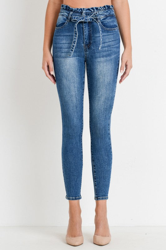 Paper Bag Skinny Jeans w/ Self Belt