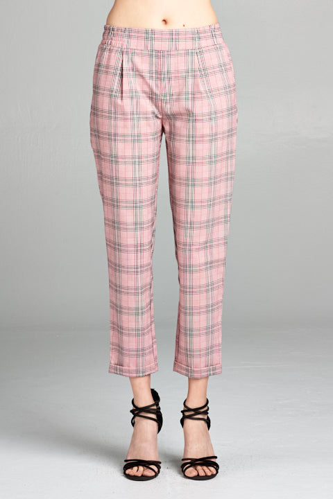 Elastic Waist Band Plaid Roll-up Hem Slacks Pants | 2 Colors