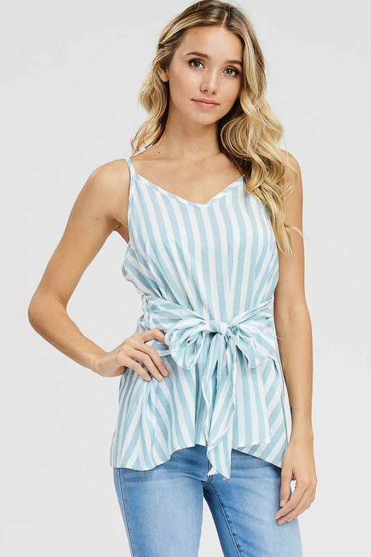 Woven Striped Tie Front Tank | 2 Colors