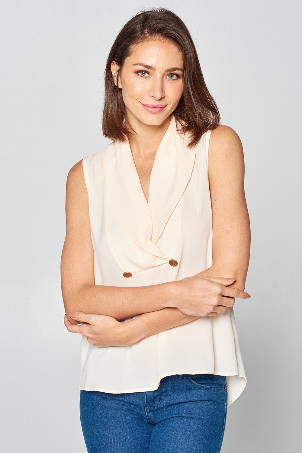 Solid Sleeveless Collar Top