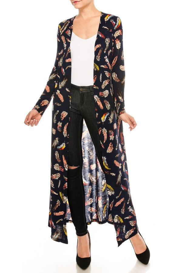 Feather Print Cardigan Duster | 2 Colors Available