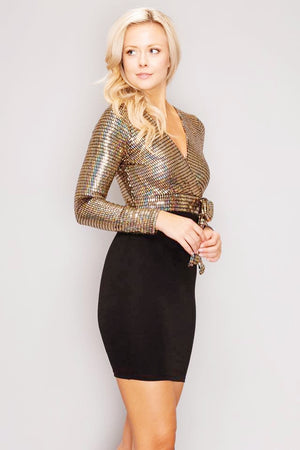 Metallic Sparkle Side Tie Bow Dress