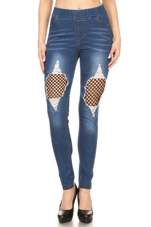 Denim Jean with fishnet/elastic waist band