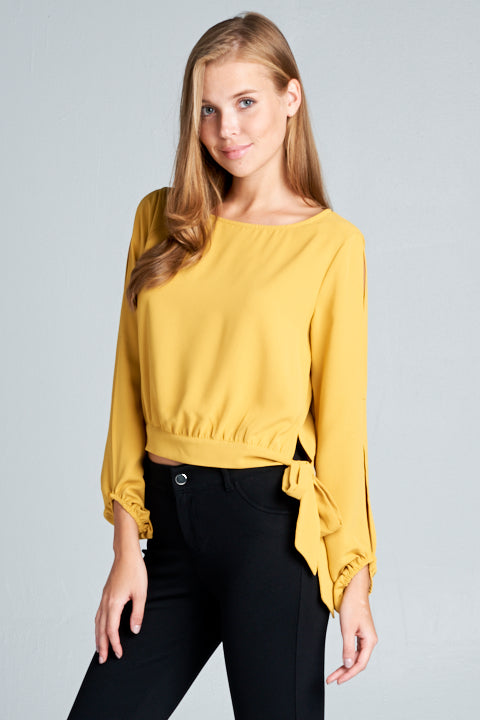 Open Sleeve Side Tie Wooldobby Top | 3 Colors Available