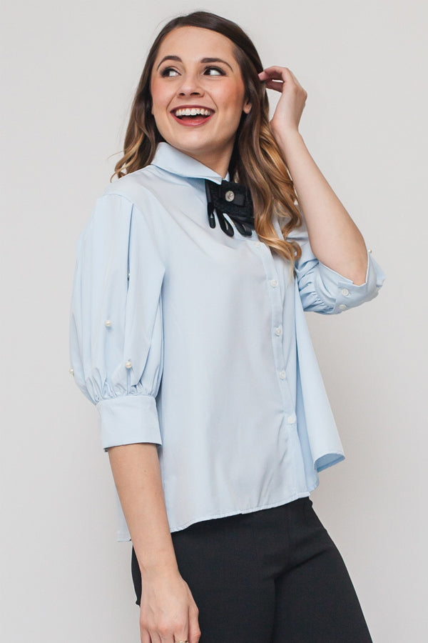 Baby Blue Button Up Blouse w/ Neck Bow Tie and Pearls on sleeves