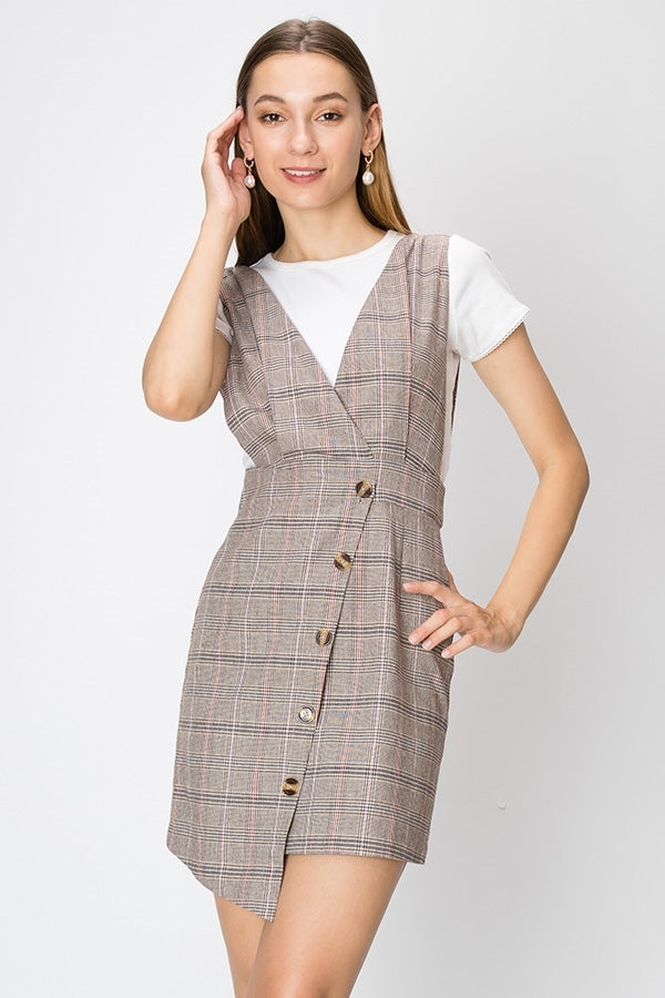 Plaid Frock Dress w/ Surplice Top & Button Front Pencil Cut Skirt | 2 Colors Available