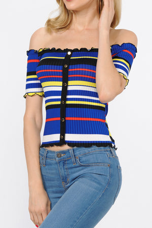 Ribbed Color Block Stripe Button Down Top | 2 Colors Available
