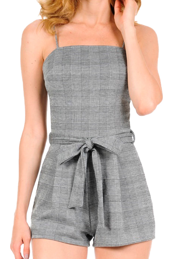 Glen Plaid Cami Self Waist Tie Romper
