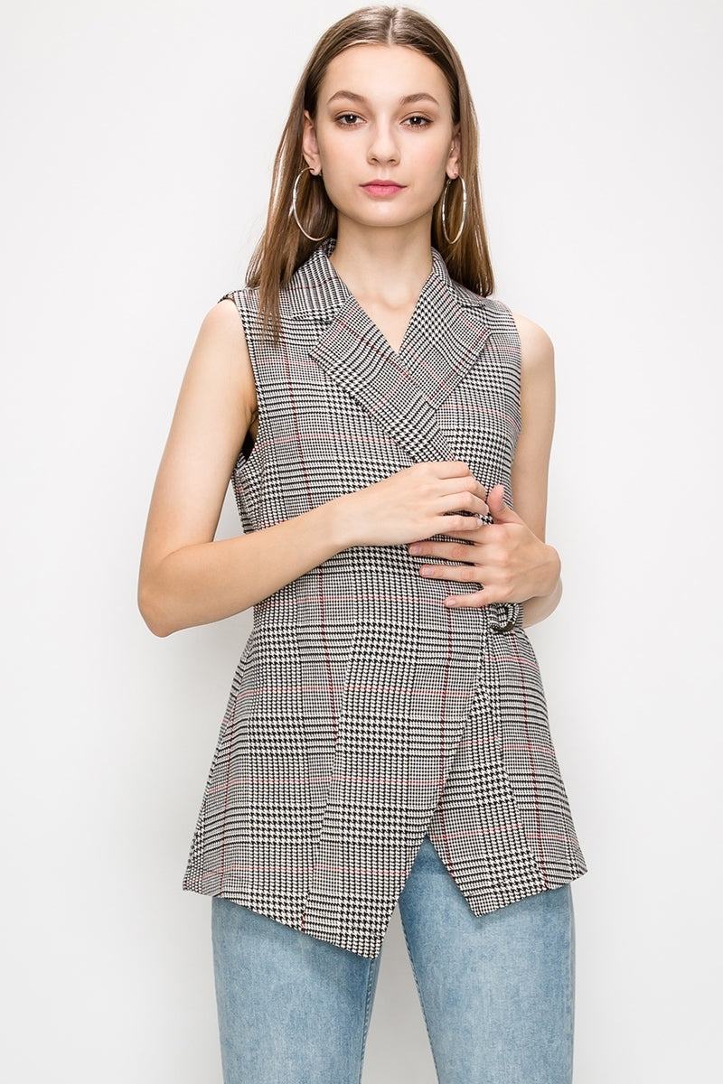 Plaid Wrap Belted Collared Vest