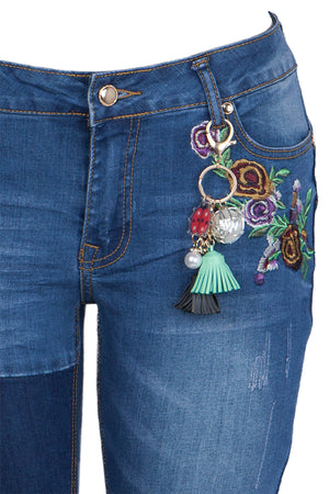 Mid-Rise Flower Embroidery Denim Skinny Jean  with Tassel Key Ring