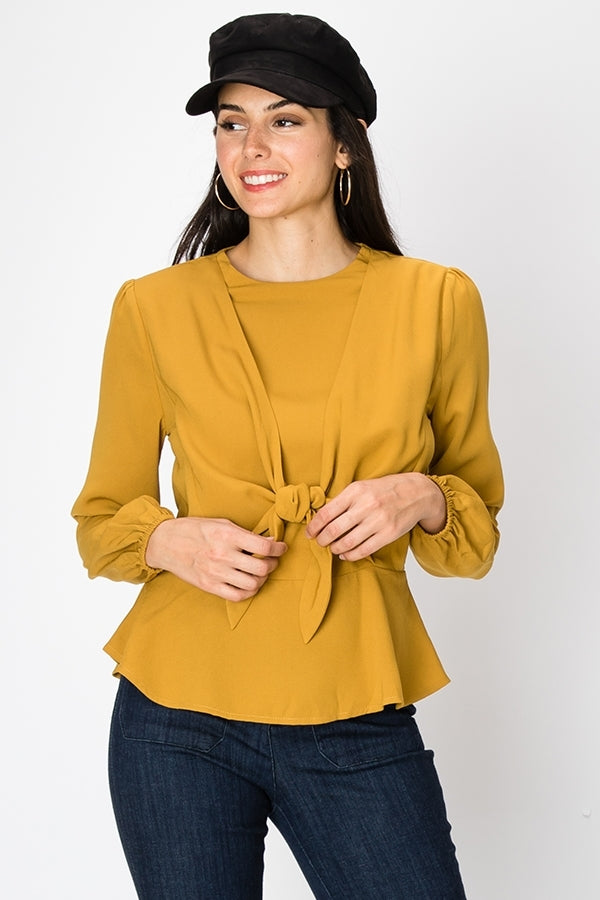 Tie Front Long Sleeve Blouse | 3 Colors Available