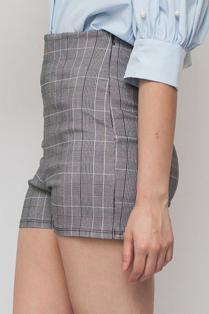 Checked High Waisted w/ Side Zipper Shorts