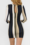Vertical Striped Bodycon Back Cut-Out Detail Dress | 2 Colors Available