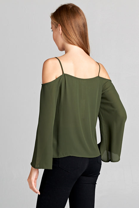 L/S Wool Dobby Off Shoulder Top w/ Rhinestones | 3 Colors Available