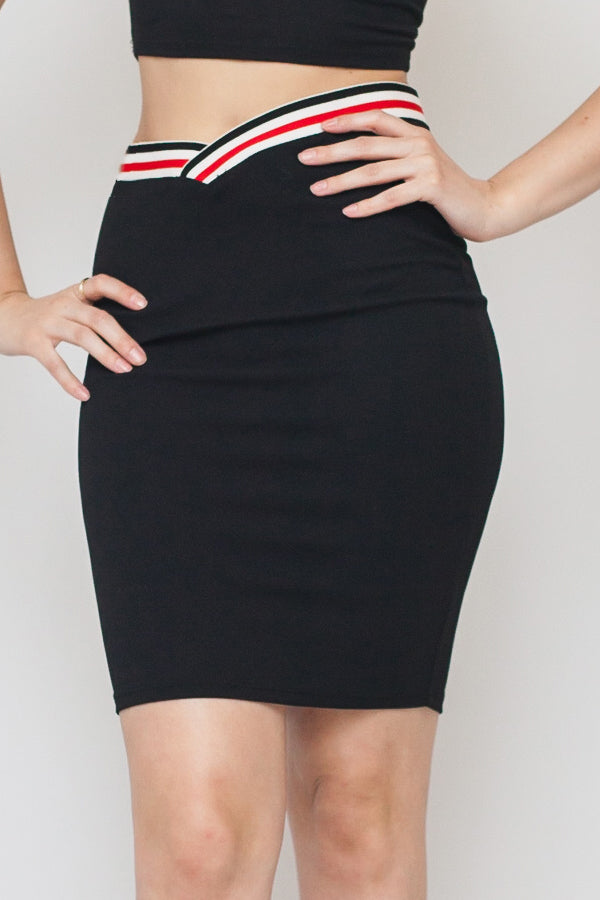 Black Pencil Skirt w/ Red & White Tapestry Band on waist