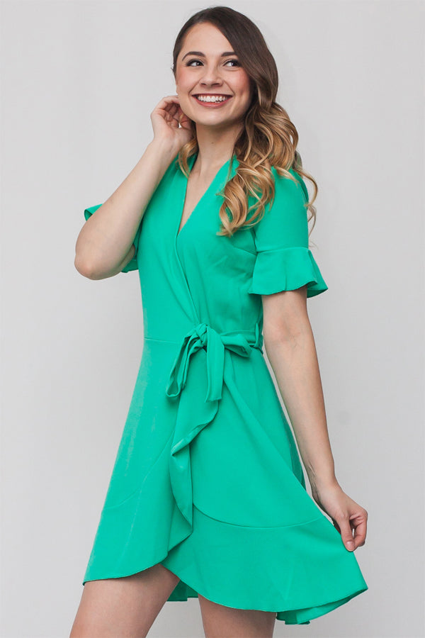 Ruffled Cardigan Dress w/ Fabric Belt | 3 Colors Available