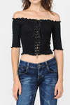 Off Shoulder Frill Detail Lace Up Grommet Crop Top | 3 Colors Available