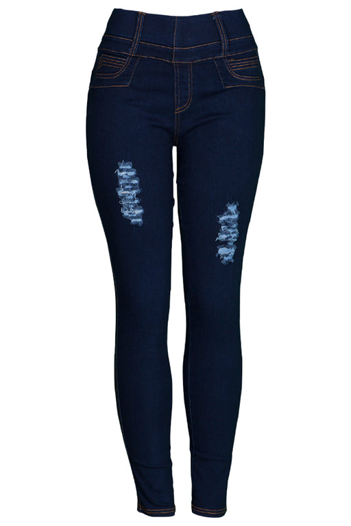Denim Distressed High-Waisted Jeggings