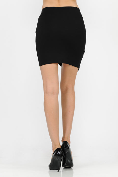 Asymmetrical Scuba Pointed Solid Skirt | 2 Colors Available