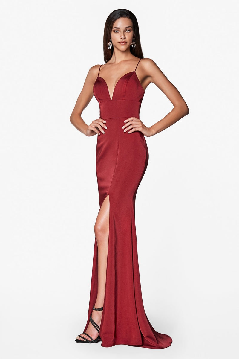 Fitted Sweetheart Neckline Gown w/ Leg Slit and Open Back | 4 Colors