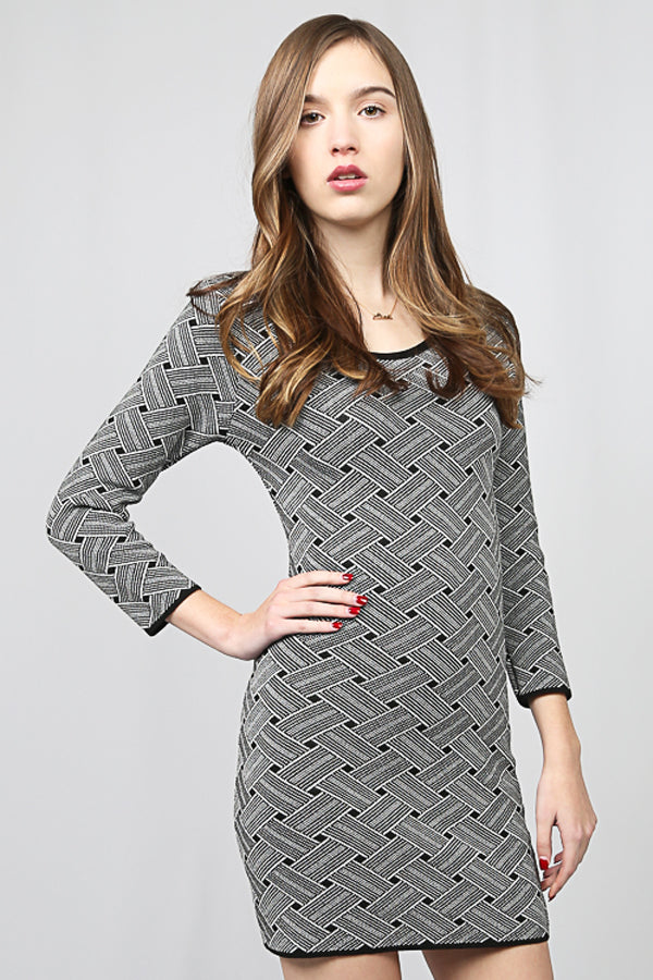 Black and White Patterned Stretch Dress