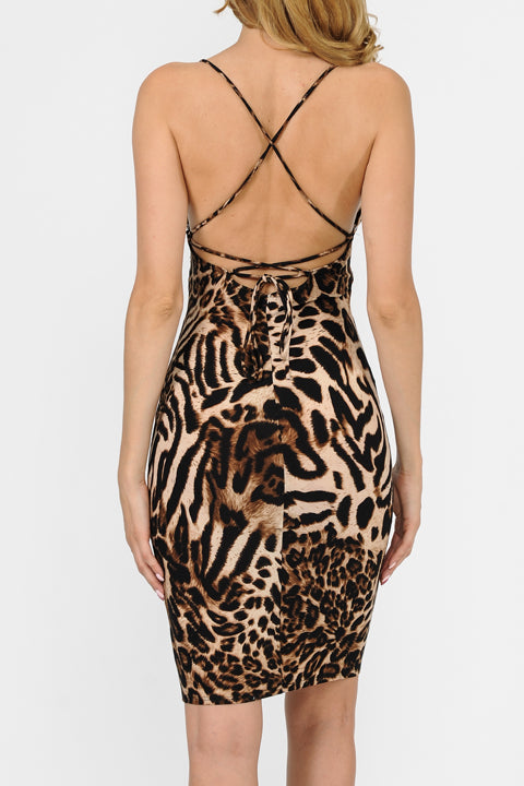 Leopard Print Criss Cross Back Detail Cami Dress
