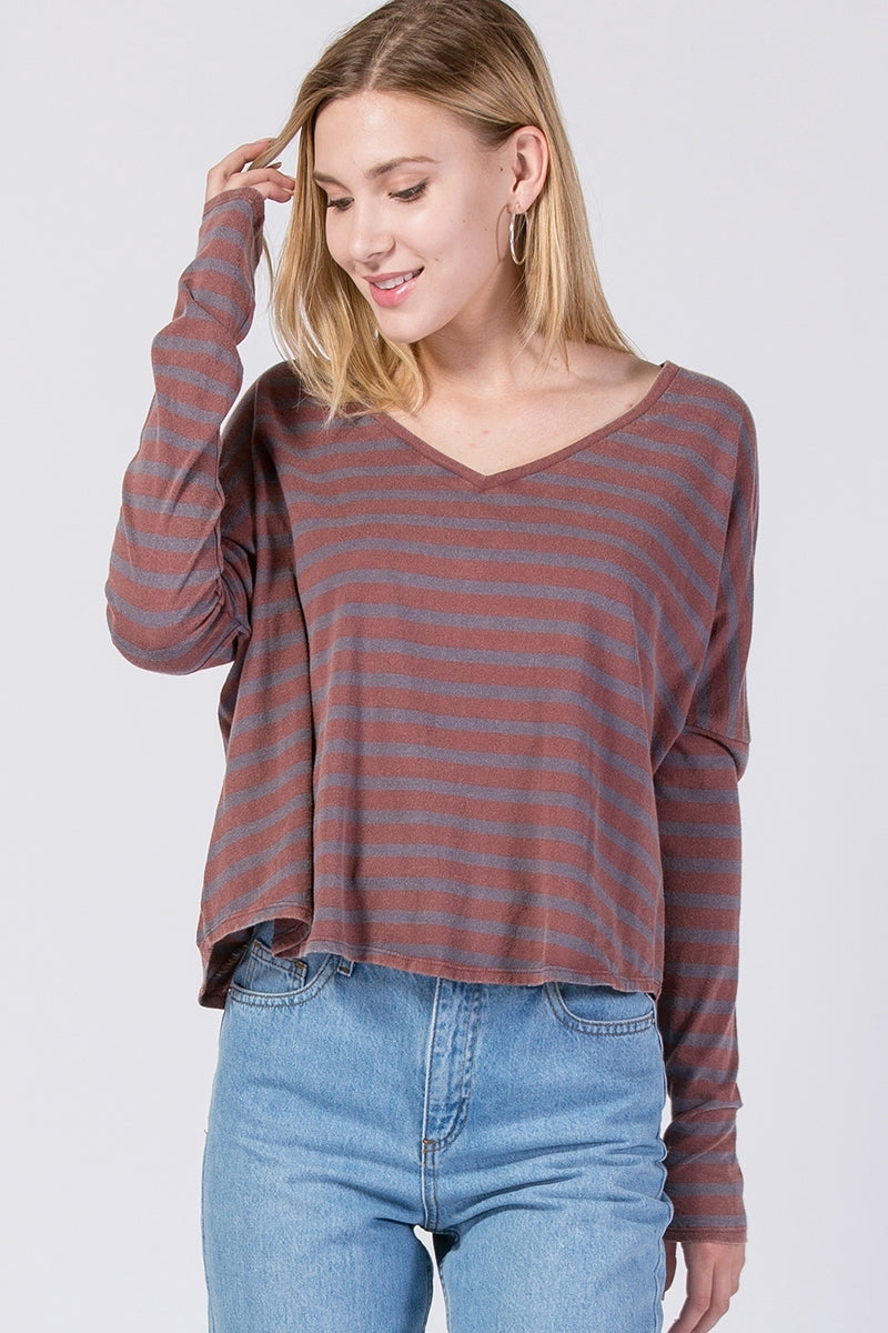 V-Neck Dolman Long Sleeve Washed Stripe Top