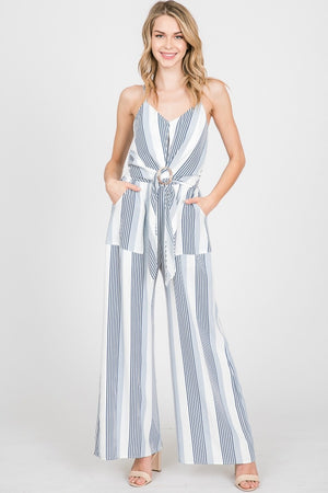 Stripe Belted Jumpsuit w/ Spaghetti Straps | 2 Colors