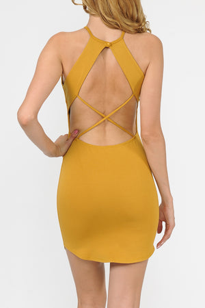 Halter Cut Out Strappy Back Detail Bodycon Dress | 3 Colors Available