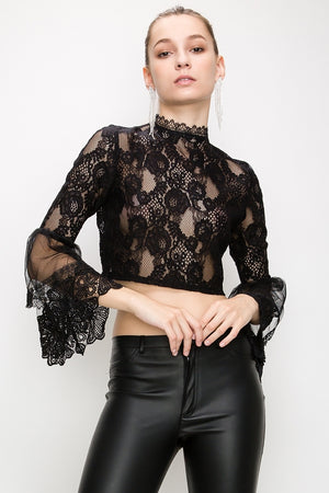 BELL SLEEVE HIGH NECK CROP LACE TOP | 2 Colors Available