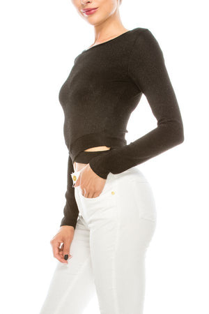 Glitter Waist Cutout Detail Long Sleeve Sweater | 5 Colors Available