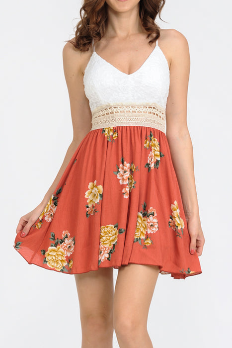 Criss Cross Back Crochet Waist Floral Print A-Line Dress | 2 Colors
