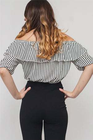 Striped Off Shoulder Cropped Blouse w/ Ribbon | 2 Colors Available