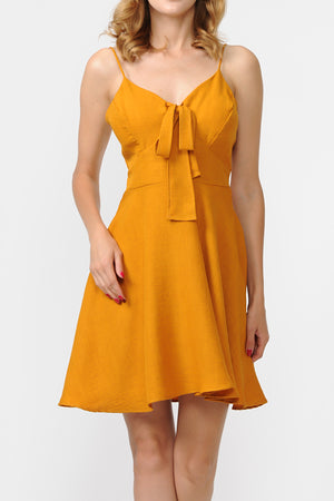 Linen Front Tie Cami A-Line Dress | 3 Colors Available