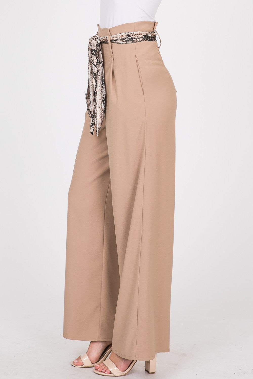 Solid High Waisted Palazzo w/ Satin Snake Print Belt | 2 Colors Available