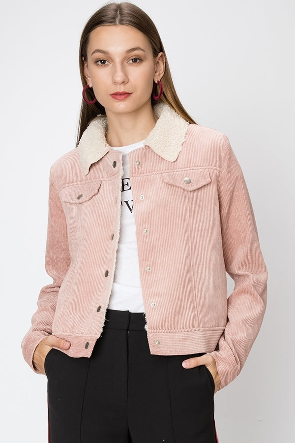 Corduroy Contrast Faux Fur Lining Jacket | 3 Colors Available