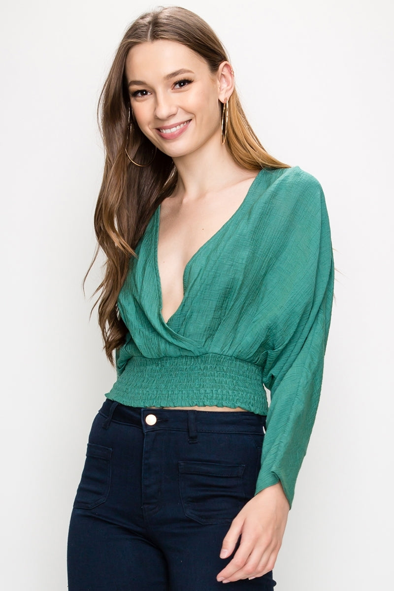 Deep V Dolman Crossover Shirred Waist Blouse | 4 Colors Available