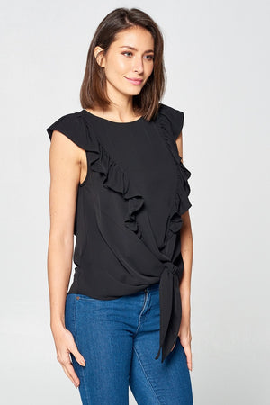 Solid Front Tie Ruffle Top | 2 Colors