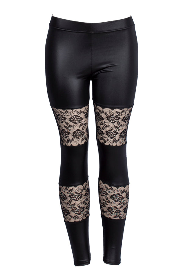 Faux Leather with Block Floral Mesh Leggings