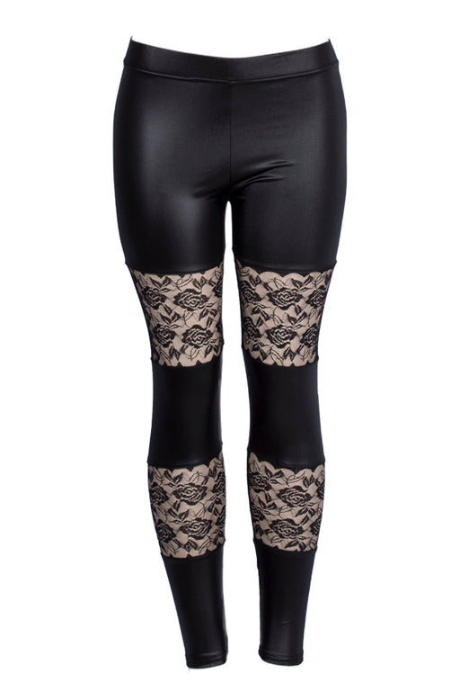 Faux Leather with Floral Mesh Leggings
