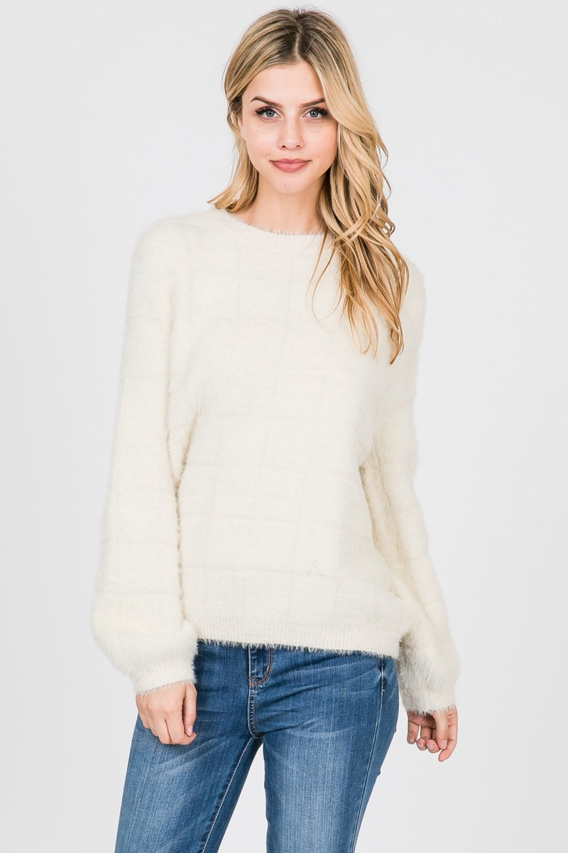Ivory Grid Fur Sweater