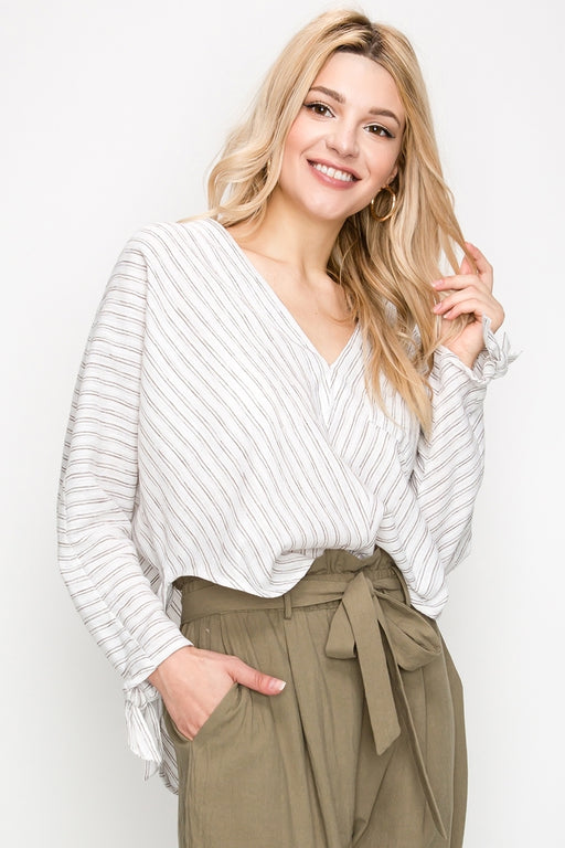 STRIPE DEEP V PONCHO SHIRT