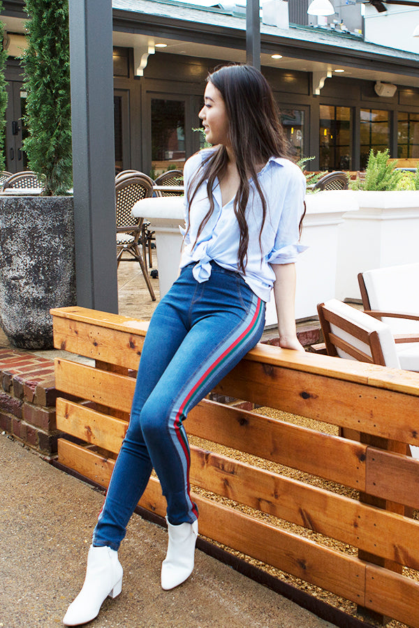 Red Green Side Stripe Detail Stretchy Jeans