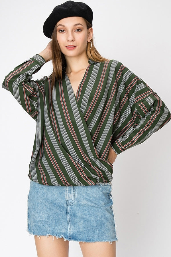 Multi Stripe Surplice Blouse | 3 Colors Available