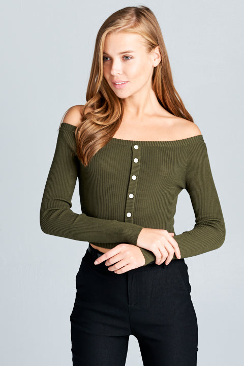 Long Sleeve Button Down Knit Top | 4 Colors Available