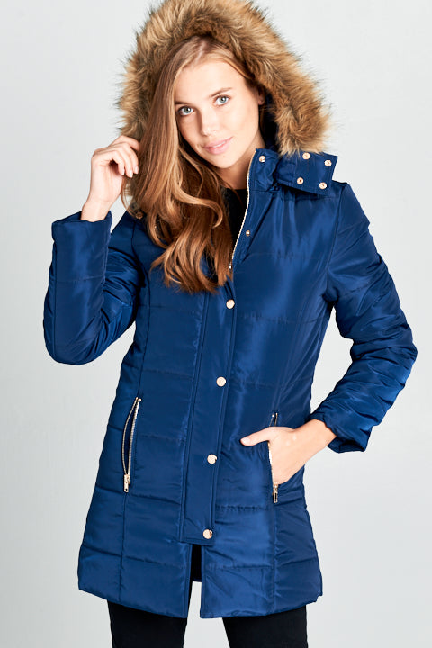 Padded Button Down Jacket w/ Fur Hood | 3 Colors Available