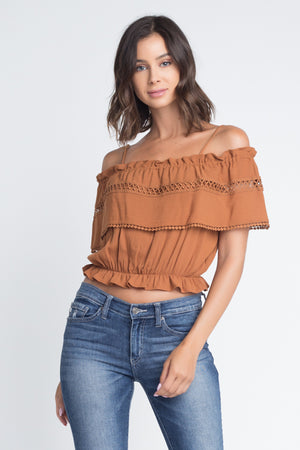 Off Shoulder Ruffle Cami Crop Top | 3 Colors Available