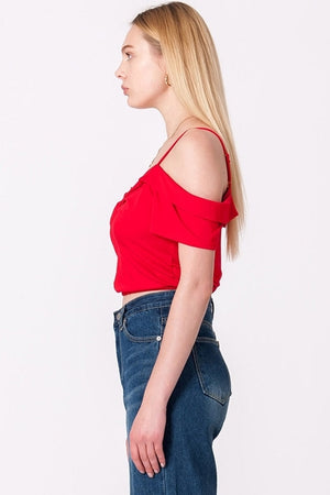 Cold Shoulder Twist Front Crop Top | 4 Colors