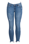 Mid-Rise Frayed Raw Hem Denim Skinny Jean