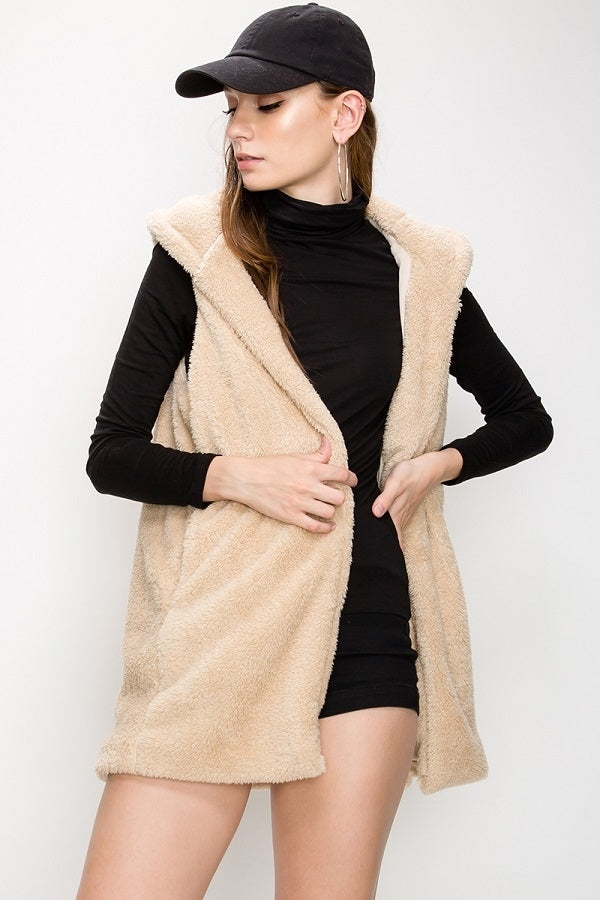 Teddy Faux Fur Vest Hoodie | 7 Colors Available